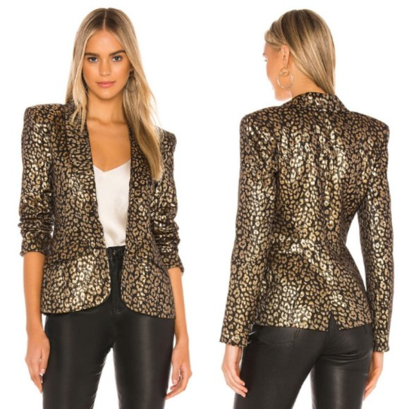 NBD Jackets & Blazers - NBD x Revolve Black & Gold Gemma Blazer